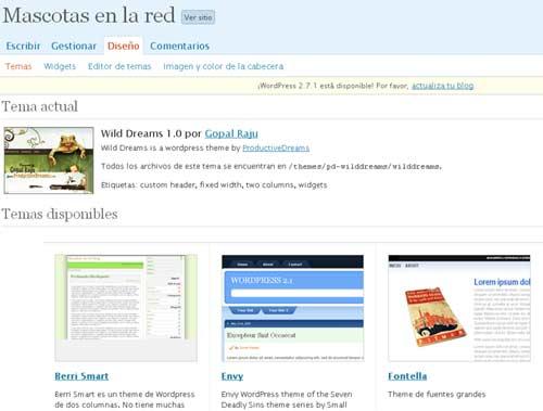 Elección e implantación de la plantilla o tema en Wordpress
