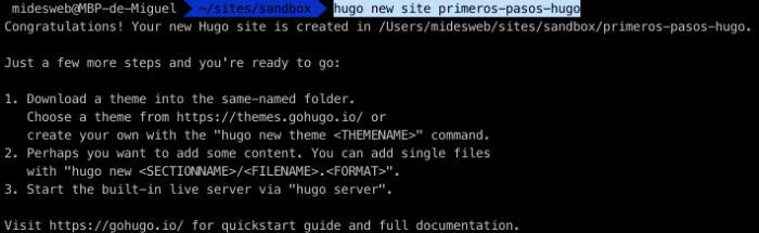 Comando hugo new site