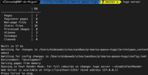 Abrir el servidor de desarrollo de hugo