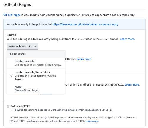 Menú de configuración de GitHub Pages