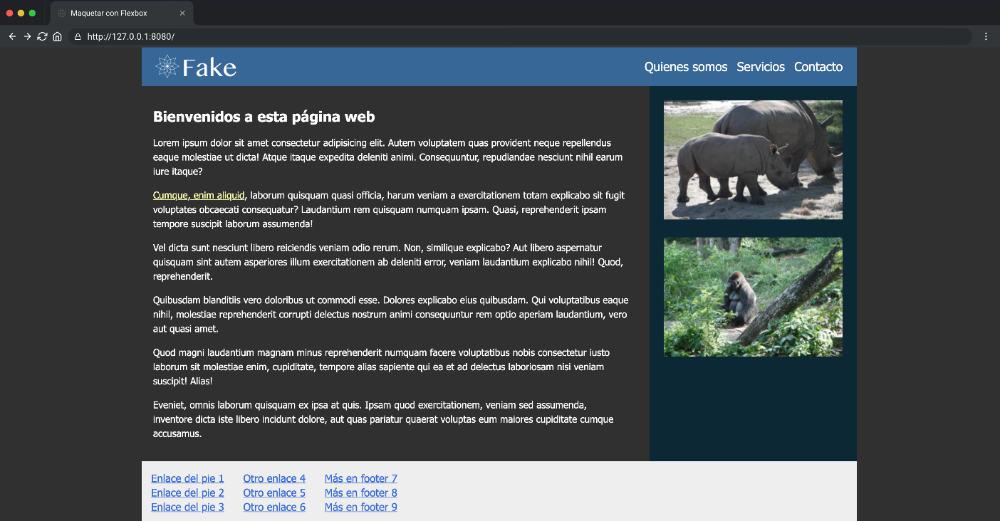 Imagen del layout que vamos a conseguir con Maquetación CSS y Flexbox