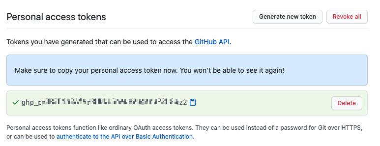 El Personal Access Token se ha creado y podemos ver su valor