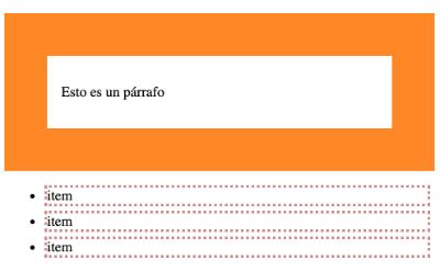 Ejemplo de atributos CSS de caja