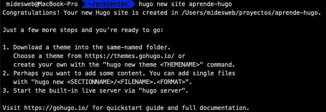 Crear un nuevo sitio con el CLI de Hugo