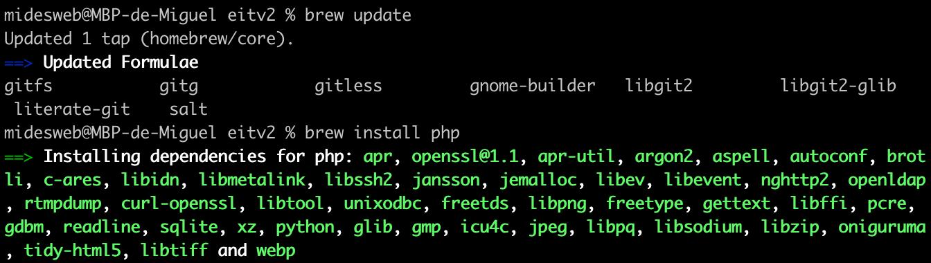 Instalar PHP con Homebrew