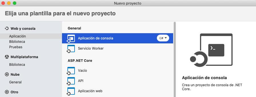 Nuevo proyecto en Visual Studio