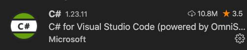 Extensión de VSCode necesaria para trabajar con C#