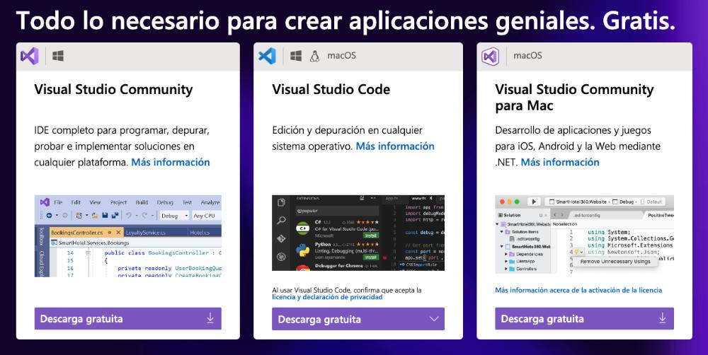 Oferta versiones gratuitas de Visual Studio