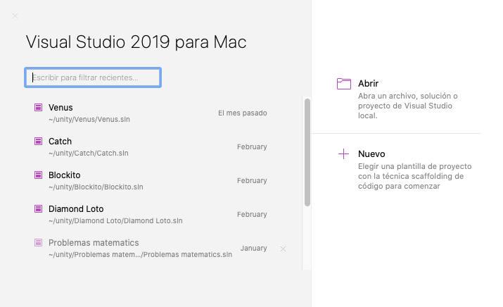 Pantalla inicial Visual Studio