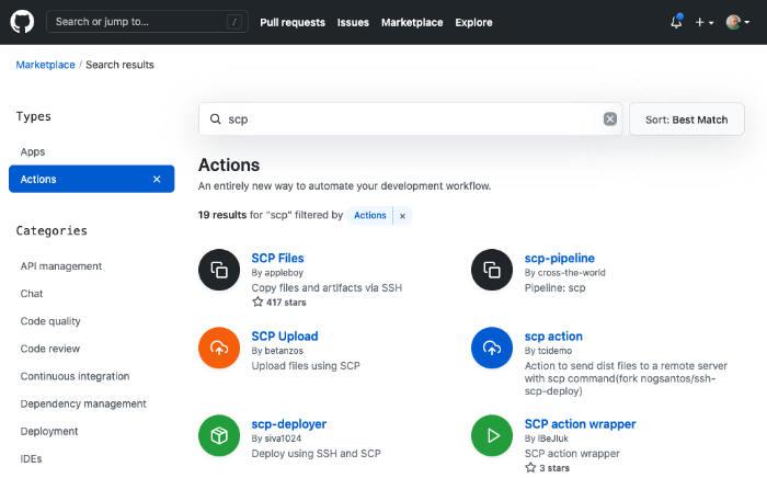 buscar actions en marketplace